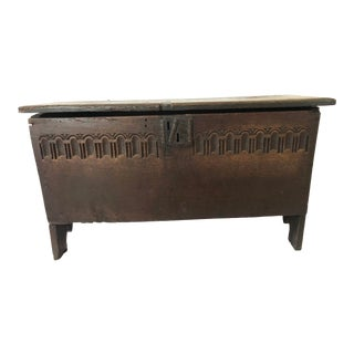 Antique Gothic Wood Chest For Sale