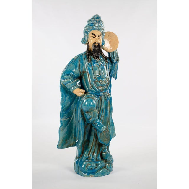 Ceramic Chinese Ming Dynasty Style Male and Female Porcelain Statues - a Pair For Sale - Image 7 of 13