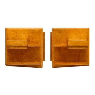 Mid-Century French Burled Birch Side Table Shelves - a Pair For Sale