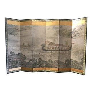 "Chinese Six Panel Painted Folding Paper Screen ""Dragon Boat Festival"" For Sale"