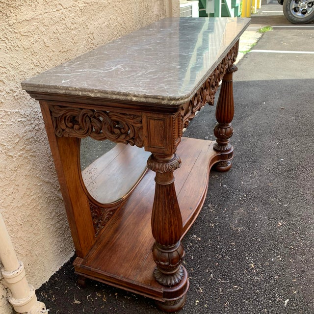 Late 19th Century Victorian Entry Table Console With Marble Top For Sale - Image 4 of 11
