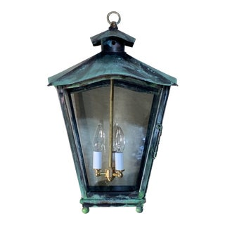 1990s Solid Brass Handcrafted Hanging Lantern For Sale