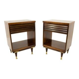 Merton Gershun Style Bassett Mid Century Walnut and Brass Louvered Nightstands - Pair For Sale