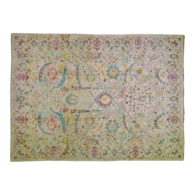 """Vintage Turkish Hand Woven Oushak Rug With Allover Design and Silky Soft Texture,9'7""""x13' For Sale"""