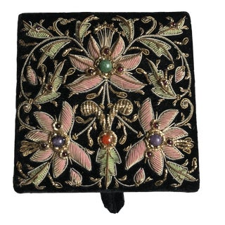 Vintage Black Velvet Jewel Encrusted Jewelry Box For Sale