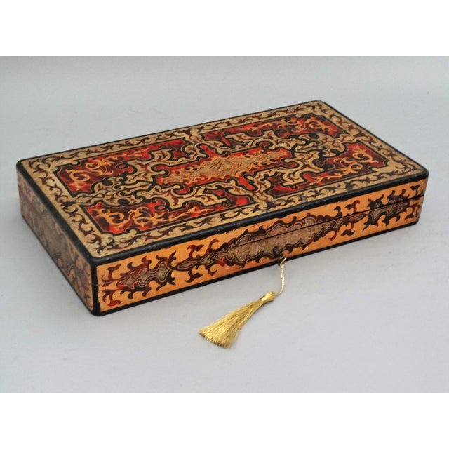 19th-Century French Playing Cards Box, Lock & Key, Counters For Sale - Image 4 of 8