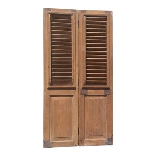 Pair of Heavy Rustic Antique Wood Shutters For Sale