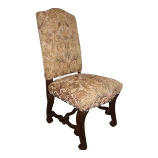 Tuscan Gold Chenille Upholstery Side Chair For Sale