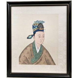 Chinese Ancestor Portrait Watercolor Artist Won Tai Early 20th C. For Sale