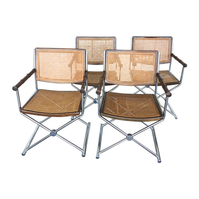 Mid-Century Faux Bamboo & Chrome Directors Chairs - Image 1 of 6