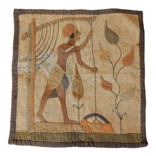 1920s Vintage Egyptian Linen Tapestry For Sale