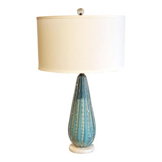 Alfredo Barbini Murano Glass Table Lamp with Shade For Sale
