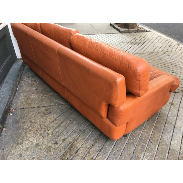 Metal Saporiti Burnt Orange Leather Sofa For Sale - Image 7 of 12