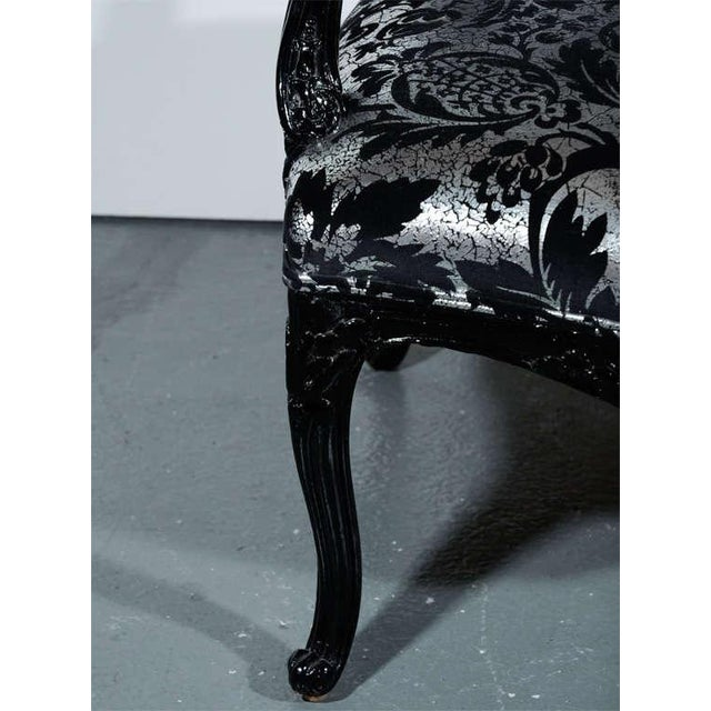 Hollywood Regency Bergere Chair in Embossed Velvet & Black Lacquer For Sale - Image 10 of 10
