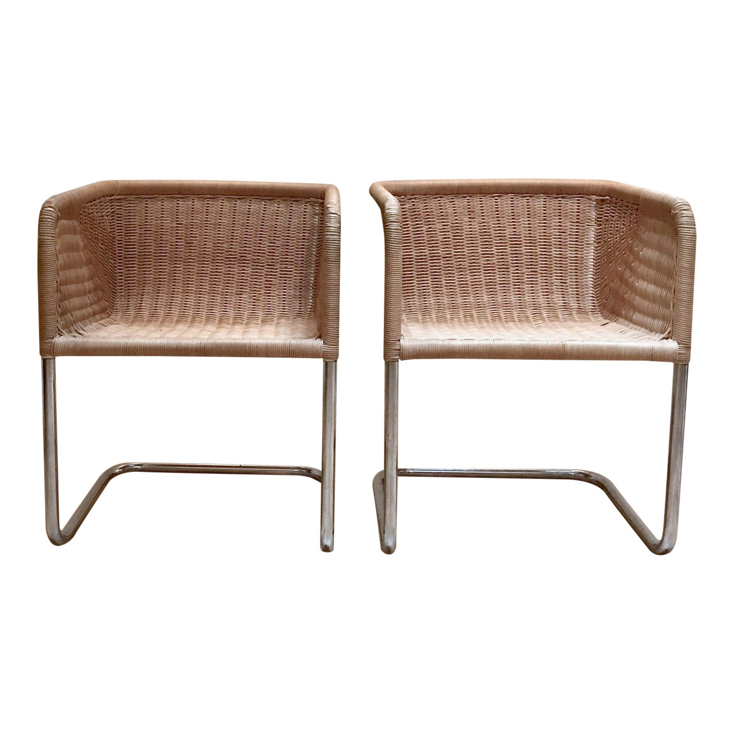 9582a16696317 Harvey Probber Wicker Cantilever Chairs - A Pair