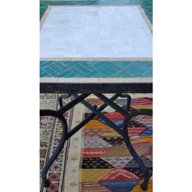 2010s Moroccan White and Green Square Mosaic Dining Table For Sale - Image 5 of 7