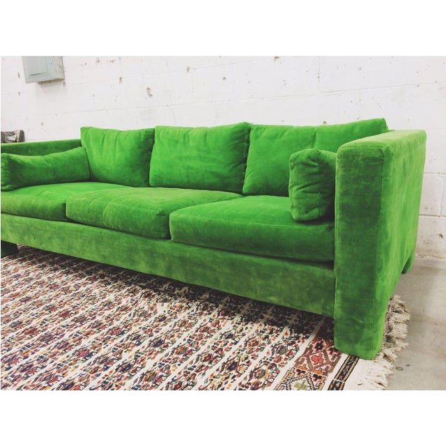 Such an exceptional green sofa by Milo Baughman! Like no other and functional. A major attention getter that deserves to...
