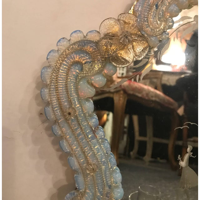 1920s Venetian Glass and Etched Mirrored Candle Sconces - a Pair For Sale - Image 5 of 9