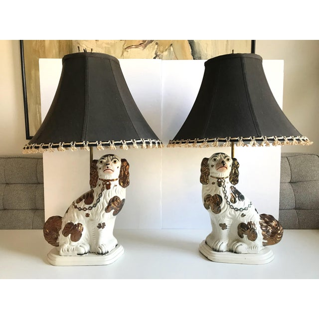 Antique English Staffordshire Spaniel Dog Lamps - A Pair - Image 9 of 9