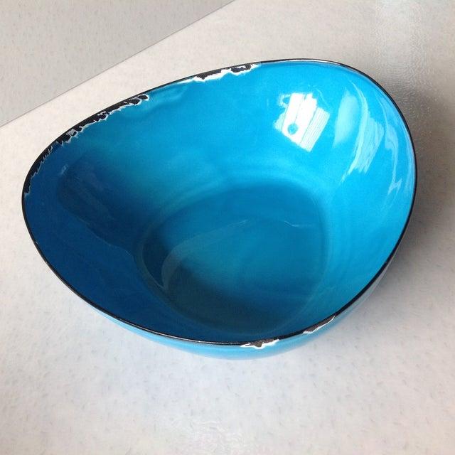 Mid-Century Modern Blue Enamel Metal Bowl - Image 2 of 11