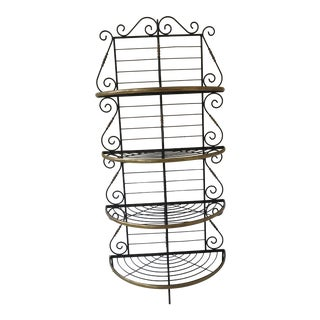 Iron & Brass Trimmed Bowfront Bakers Rack For Sale