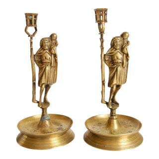 Early 20th Century Antique Brass Figural Candleholders - A Pair For Sale