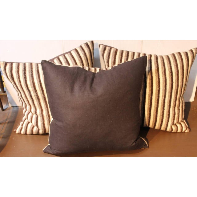 Group of Three Striped Indian Weaving Pillows For Sale - Image 4 of 4