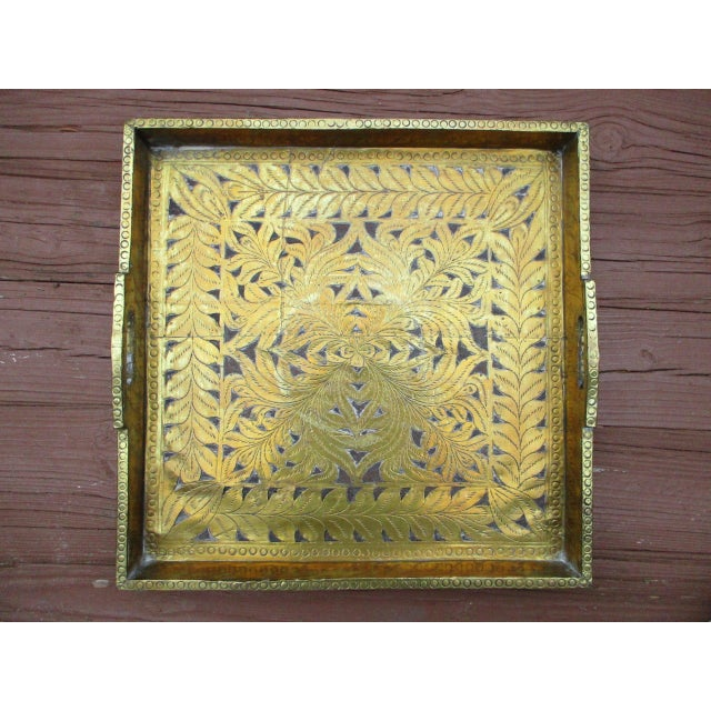Antique Ornate Hammered Brass Wood Serving Tray - Image 3 of 11