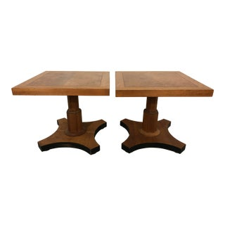 Pair of Palladian Collection Walnut Side Tables by Baker For Sale