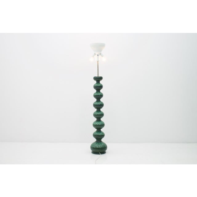 Large ceramic floor lamp by Kaiser Leuchten, Germany 1960s. Measures: Total height 163 cm, diameter with lampshade 48 cm,...