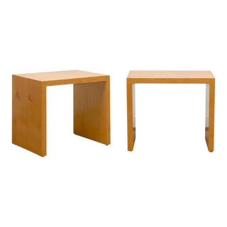 Wonderful Pair Milo Baughman Style End Table/Night Stands in Maple For Sale