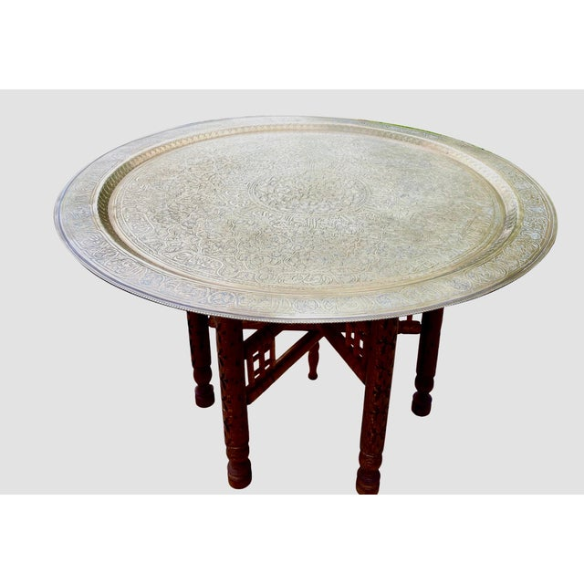 Brass Moorish Chic Moroccan Engraved Brass Tray Table For Sale - Image 8 of 8