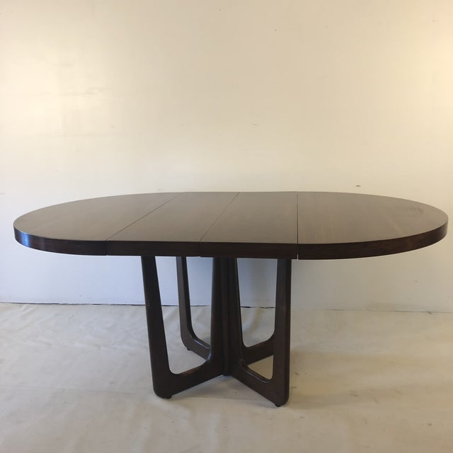 Adrian Pearsall 1960s Danish Modern Walnut Base Dining Table With 2 Leaves For Sale - Image 4 of 13