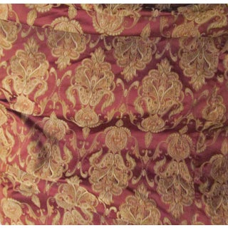 "Art Nouveau Damask Bordeaux and Gold Large Oval Table Cloth - 108 x 112"" For Sale"