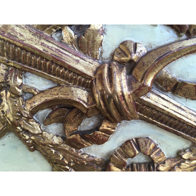 Glass 19th Century Hand Painted & Gold Leaf French Trumeau Pier Mirror For Sale - Image 7 of 9