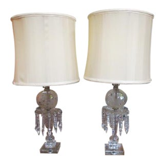 1940s Vintage Antique Glass and Crystal Lamps - a Pair For Sale