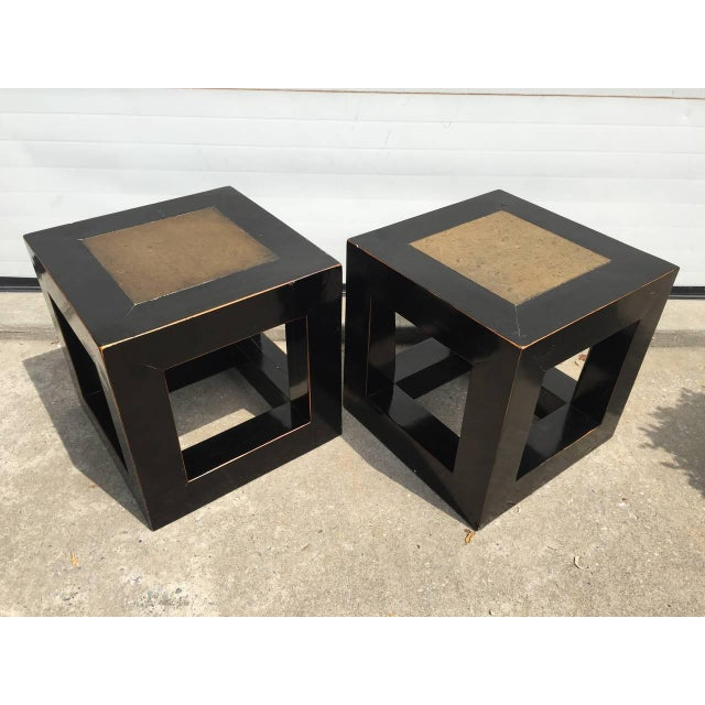 Chinese Elmwood & Stone Square Tables - Image 6 of 9