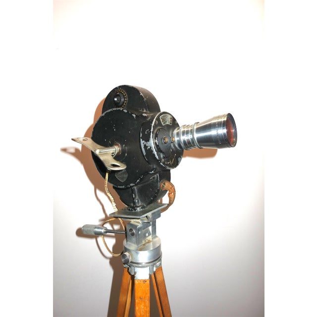 Hollywood Early 20th Century Movie Camera With Head and Wood Tripod Legs For Sale - Image 4 of 7