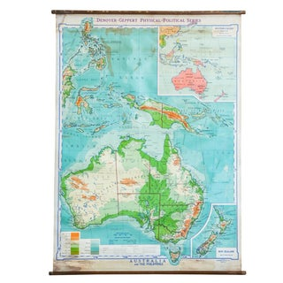 Vintage Pull Down Map Of Australia And Phillipines