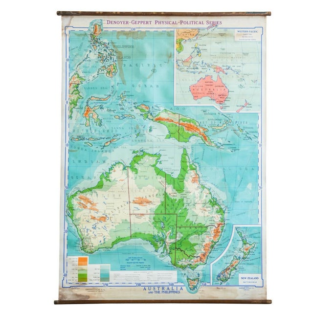 Vintage Pull Down Map Of Australia And Phillipines - Image 1 of 6