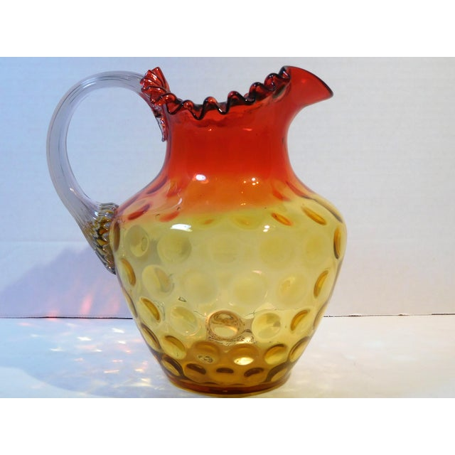 Antique Mt. Washington Glass Company Amber Rose Art Glass Pitcher, Circa 1880 For Sale - Image 4 of 13