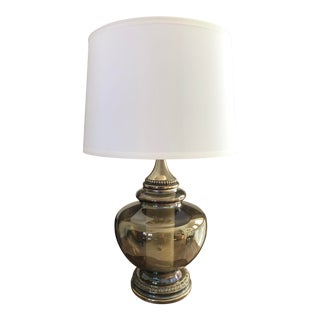 1970s Hollywood Regency-Inspired Smoked Glass & Brass Vintage Lamp With Shade For Sale