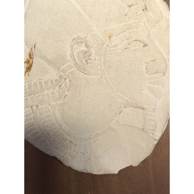 Vintage Egyptian Intaglio Wood Mounted Plaster For Sale - Image 4 of 6