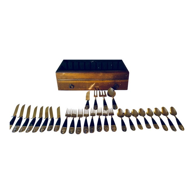 Mid Century Brass and Rosewood J. Thailand Flatware Set 28 Pieces For Sale
