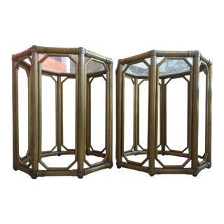 Octagonal Rattan & Tempered Glass Side Tables - A Pair