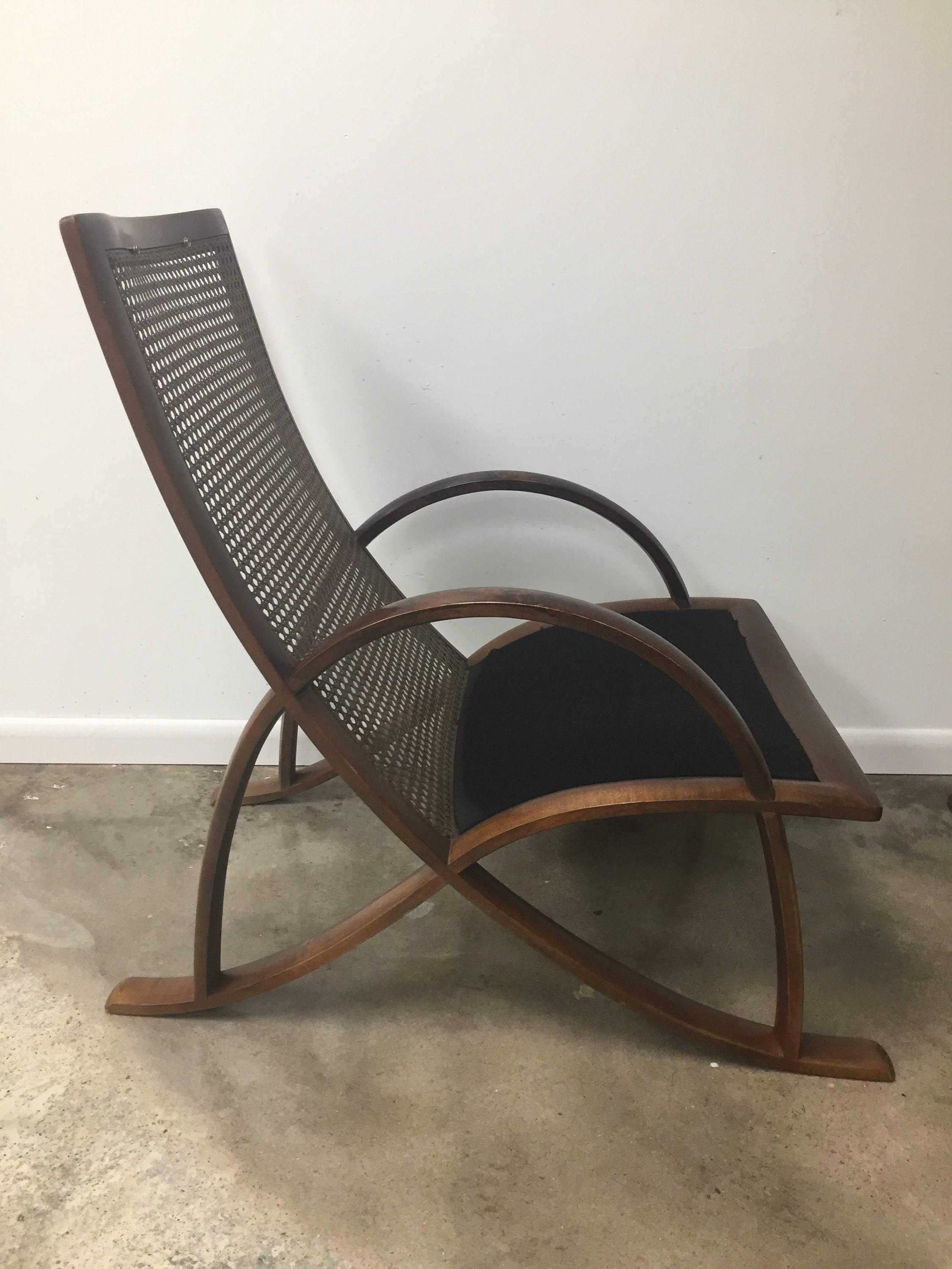 Pair Of Modern Bentwood And Cane Lounge Chairs And Ottoman By WK Mobel Of  Germany Frame