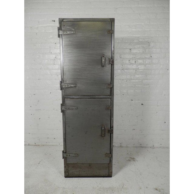 Industrial Industrial Metal Mid-Century Two Door Locker For Sale - Image 3 of 6
