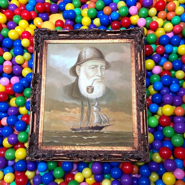 1960s Vintage Captain and Ship Nautical Framed Original Painting For Sale - Image 9 of 9