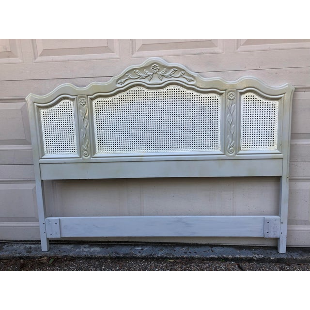 19th Century Drexel Heritage Cabernet Classics Full/Queen Painted Caned Headboard For Sale - Image 5 of 13