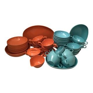 1960s Prolon Melamine Turquoise & Orange Dinnerware - Set of 49 For Sale